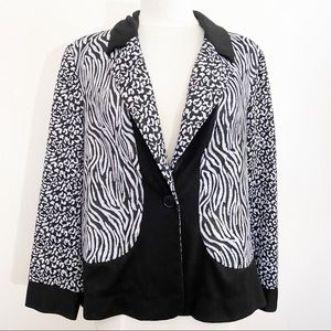 NOTATIONS knit animal print 1 button jacket XL